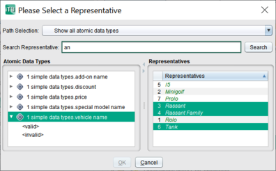 In the selection dialog for representatives of a generic parameter now you can sort and search.